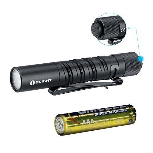 Olight I3T EOS 180 Lumen Mini Torcia Portachiavi Con Clip Torce LED Portatile Alta Potenza Impermeabile IPX8 con 2 Modalità dell'illuminazione Batteria AAA Inclusa per Uso a Casa o All'aperto