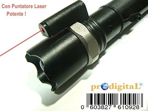 prodigital Torcia Tattica Militare CREE LED con MIRINO Fascio Luce Luminoso MIRINO Rosso PUNTATORE Laser LUMENS Xenon Ricaricabile COMPLET